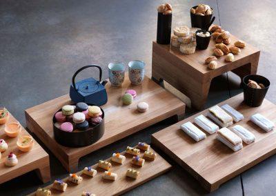 Craster - buffetpresentatie houten plateaus
